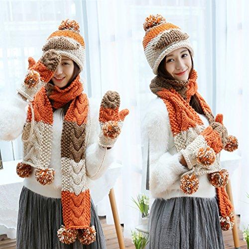 LHP Chapeau Chapeau Gants Trois-pièces Femmes Hiver Chapeau Mignon Chapeau Haut de gamme A