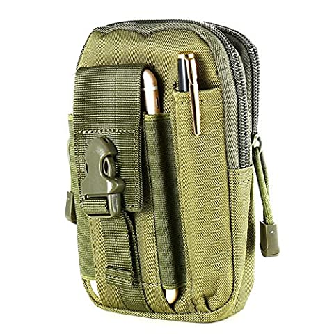 Outdoor Waist Bag, FLOVEME Tactical Molle Pouch Waist Bag Men's Outdoor Travel Sport Saddlebag Purse Pouch for iPhone 6 6S Plus SE 5 5S, Samsung S4 S5 S6 S7 Edge Note 2 and other Phones Smaller than 5.5 inch - Army