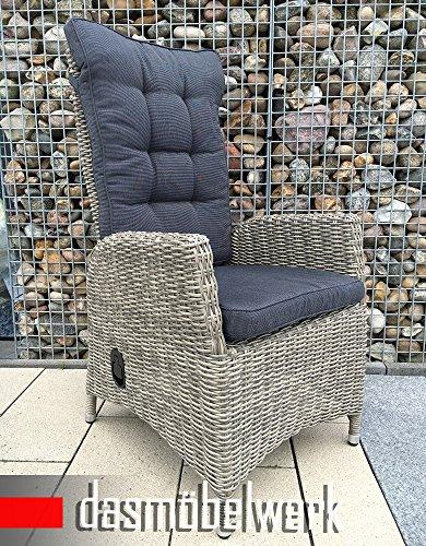 Dasmöbelwerk Polyrattan Hochlehner Mit Sitzpolstern Rattan Stuhl Relax  Sessel Gartenmöbel Gartenstuhl PISA Grau