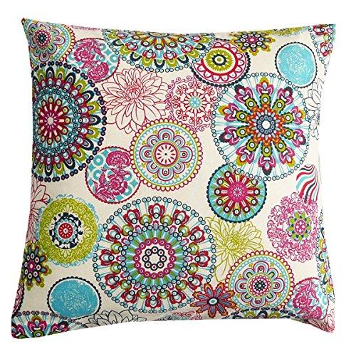 SCHÖNER LEBEN. Kissenhülle Mandala Blumen Muster bunt 50x50cm