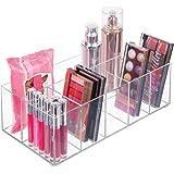mDesign Organizador de maquillaje – Caja transparente con 6 compartimentos - Ideal para guardar maquillaje, cosméticos y prod