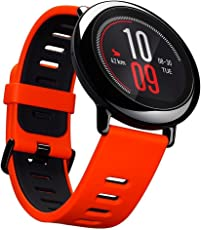 Gshopper - Smartwatch Amazfit GPS sport con Bluetooth, WiFi, Dual 512MB/4 GB, cardiofrequenzimetro per iOS Xiaomi Huami (versione inglese) rosso/nero