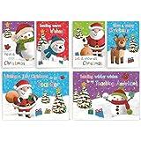 32 x Childrens Glitter Christmas Cards School Pack For Class Friends & Teachers