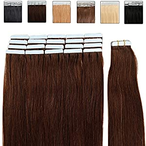 Extensions de Cheveux Bande adhésive Ruban adhésif - 50cm - 20pcs - Extensions en cheveux humains naturels - Grade 6A - Tape in Remy Hair Extensions - #04 Marron chocolat