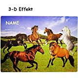 3-D Effekt _ Unterlage -  Pferde & Fohlen  - inkl. Name - 40 cm * 30 cm - als Platzdeckchen / Tischunterlage / Malunterlage / Knetunterlage / Eßunterlage / ..