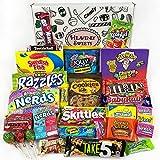 Großer American Candy Geschenkkorb | Retro Süßigkeiten und Schokolade Geschenkkorb | Auswahl beinhaltet Reeses, Skittles, Nerds, Hersheys, M&M's | 28 Produkte in einer tollen retro Geschenkebox