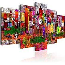 murando Cuadro en Lienzo 200x100 cm - Grande Formato - 5 partes - Impresion en calidad fotografica - Cuadro en lienzo tejido-no tejido - Ciudad colorido Abstraccion Casa d-A-0052-b-m 200x100 cm
