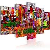 murando Akustikbild Stadt bunt 225x112 cm Bilder Hochleistungsschallabsorber Schallschutz Vlies Leinwand Akustikdämmung 5 TLG Wandbild Raumakustik Schalldämmung d-A-0052-b-m
