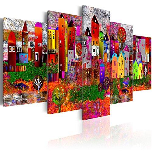 murando Akustikbild Stadt bunt 225x112 cm Bilder Hochleistungsschallabsorber Schallschutz Leinwand Akustikdämmung 5 TLG Wandbild Raumakustik Schalldämmung d-A-0052-b-m