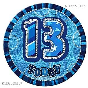 Gifts 4 All Occasions Limited SHATCHI-137 - Insignia de 13 cumpleaños para adolescentes, color azul