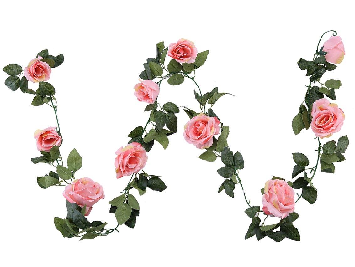 Guirnalda de flores artificiales de seda Houda, diseño clásico, para colgar en paredes o como decoración de boda, 1…