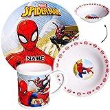 Unbekannt 3 TLG. Geschirrset -  Ultimate Spider-Man  - incl. Name - Porzellan / Keramik - Trinktasse + Teller + Müslischale - Kindergeschirr - Frühstücksset für Kinde..