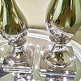 DRULINE 2er Sparset Kerzenleuchter Aladdin Kerzenständer aus Keramik Silber (1 x Klein + 1 x Groß) - 3