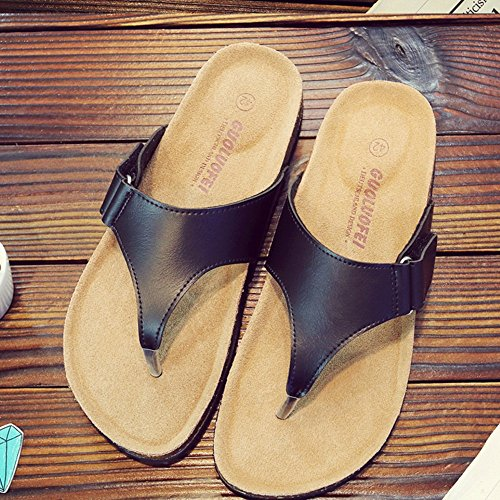 ZHANGRONG- Chaussures pour hommes PU Summer Slippers Chaussures de marche Noir Couleur Blanc Couleur ( Couleur : Noir , taille : 44 ) Blanc