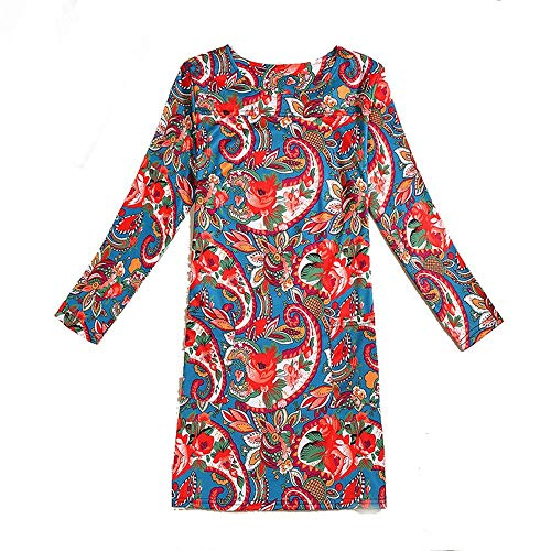 f8092fb1c13 Long Sleeve Dress Women Elegant Dress Female Ladies Wild Dress For Daily  Wear 3XL Sea Urchin