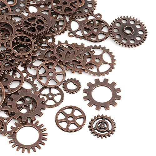 Naler 80 Stk. Zahnräder Steampunk Metall für Schmuck Basteln Kostüm (Kupfer) (Zahnräder Zahnrad Kostüme)