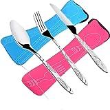 FLYING_WE 6 PCS Juegos de Cubiertos Cuchillos, Tenedores, cucharas, Paquete de 2 vajillas de Acero Inoxidable Ligero vajilla