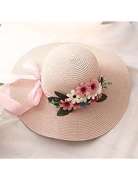 LVLIDAN Sombrero para el sol del verano Lady Anti-sol pescador sombrero de paja rosa