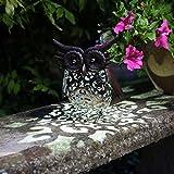 Wunderschöne Metall Garten Deko Figuren Solar Tiere mit LED Beleuchtung und Lichtsensor   wunderschöne Garten Dekoration mit Solar LED Leuchten (Eule LED weiß) : je 23 cm hoch, 22 cm breit