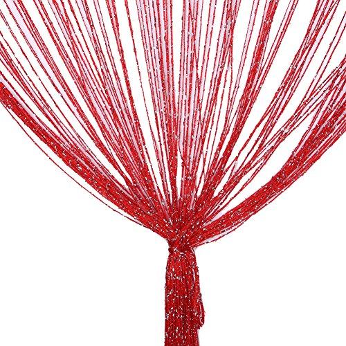 Vidillo Fadenvorhang, Fadenvorhang Glitzer Weiss 100 x 200 cm Wandvorhang Schaufensterdekoration, Dekorative Gardine Raumteiler Fliegenschutz für Hochzeit, Café, Restaurant (rot)