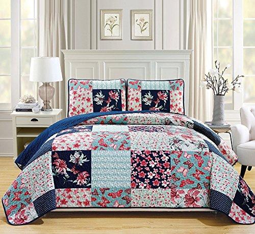 he-Set für Doppelbett, gesteppt, 3-teilig, Blumenmuster, Schmetterlingsmotiv, Marineblau, Blaugrün, Korallenrosa, Burgunderrot ()