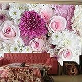 BIZHIGE Rose Blume 3D Wandbild Vinyl Tapete Für Sofa Hintergrund Hochzeit Zimmer 3D Wand Foto Wand Fresko 275 × 235 cm