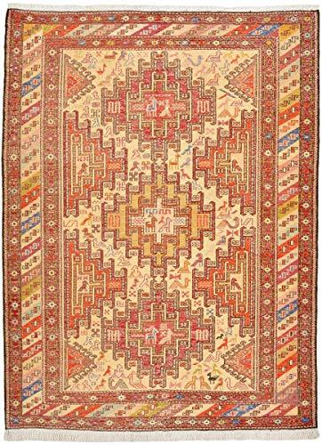 Nain Trading Kelim Soumak Seide 141x104 Orientteppich Teppich Beige/Rosa Handgeknüpft Indien -