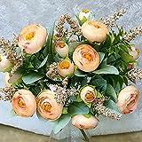 Mini Rose 1 Bouquet 10 Köpfe Hübsche Hochzeit Künstliche Seide Blumenstrauß Flores Braut Startseite Hochzeit Dekoration Gefälschte Pfingstrose Blume - Champagne