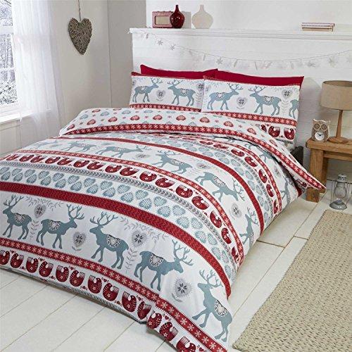 Natale Cuori 100% flanella di cotone spazzolato trapunta copripiumino e federa Set di biancheria da letto singolo, colore: