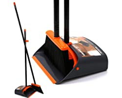 """[Upgrade Version]TreeLen Dustpan and Brush/Dustpan Cleans Broom Combo with 54"""" Long Handle for Home Kitchen Room Office Lobby"""
