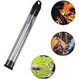Teleskop Blasrohr, Blow Fire Tube Edelstahl, Manuelle Blasrohr Feuerblasrohr Tasche, zum Campingwandern Kochen Wandern Überleben