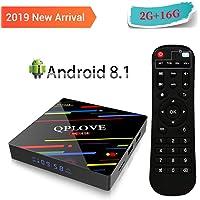 QPLOVE Max+ TV Box Android 8.1 4K Boîtier TV [2GB RAM+16GB ROM] avec RK3328 Quad Core Processor, Smart TV Box Soutien WiFi 2.4GHz,USB 3.0,HDMI 2.0