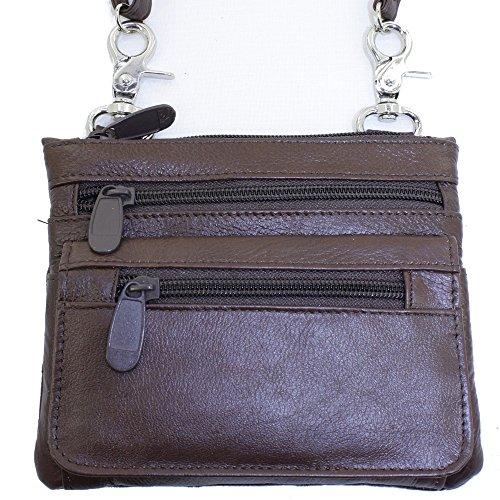 Echtes Leder Kleine Schulter überqueren Körper Reise Mini-Geldbeutel-Tasche Durch Silber Fever ® braun 3097