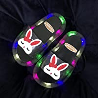 Perferct Flip Flops For Girls,Luminous Slippers, Summer Cute Cartoon Led Rabbit Non-Slip Soft Parent-Child Flip-Flops…