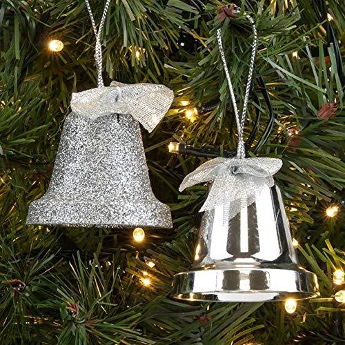 Tradebox 4 St. 6 cm Silber Glitter Weihnachtsglocken Weihnachtskugeln Glocken Christbaumglocken Christbaumschmuck Xmas Weihnachtsdeko Frohe Weihnachten Hause Deko