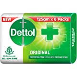 Dettol Original Germ Protection Bathing Soap Bar (Pack of 6-125g each), Combo Offer on Bath Soap
