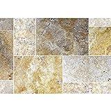 Natursteinfliesen Travertin Castello Gold Römischer Verband | Wandverkleidung Badfliesen Bad Mosaikstein