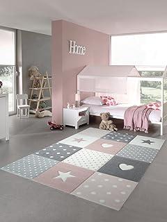 Kinderteppich Spielteppich Babyteppich Mädchen mit Herz Stern rosa ...