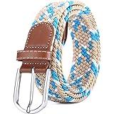BOZEVON Cintura in tessuto elastico - Cintura in tessuto elasticizzato intrecciato elasticizzato multicolore per Uomo Donna