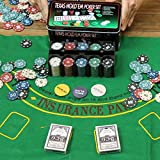 TrAdE shop Traesio SET COFANETTO POKER TEXAS HOLDEM FICHES CHIPS PROFESSIONALE SCATOLA DI LATTA