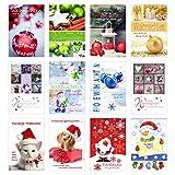 Set 12 Weihnachtskarten mit Umschlag. Weihnachten Karte (Doppelkarten/Klappkarten mit Briefumschlag). Postkarte Weihnachtspostkarte