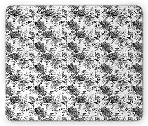 Black and White Mouse Pad, Flora and Fauna Composition Hummingbirds Butterflies and Wildflowers, Standard Size Rectangle Non-Slip Rubber Mousepad, Black White -