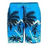 Rera Herrem Sommer Große Größen Bermuda mit 3D Kokospalme Motiv Drucken Schnelltrocknend Strand Shorts Gummizug Kurze Hose Badehose