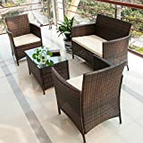 BTM rattan garden furniture sets patio furniture set garden furniture clearance sale furniture rattan garden furniture set table chairs sofa patio conservatory wicker new (Brown)