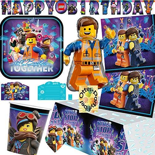 HHO Lego Movie-2 Lego-Party-Set Movie-Party-Set 43tlg. für 8 Gäste Teller Becher Servietten Tischdecke Einladung Girlande Folienballon