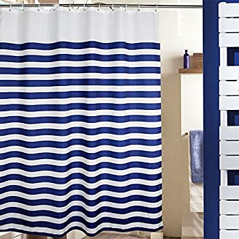 MangGou Stripes Fabric Shower CurtainWaterproof Polyester Bathroom CurtainNautical Decorative Curtain Liner With 12 HooksMildew ResistantMachine