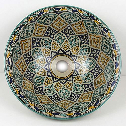 Casa Moro Mediterranes Keramik-Waschbecken Fes61 rund Ø 40 cm bunt H 18 cm handbemalt | Marokkanisches Handwaschbecken für Bad Gäste-WC | Einfach schöner Wohnen | WB40261