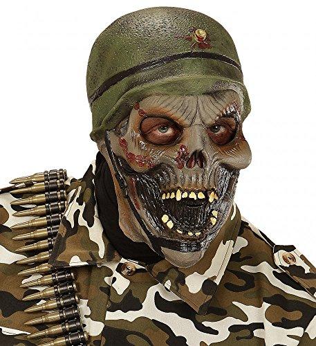 Gruselige Latexmaske Zombie Soldat