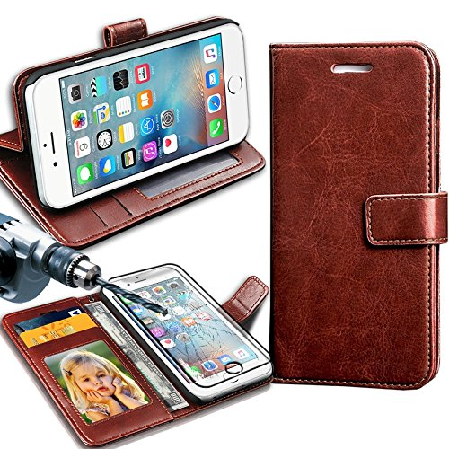 GBOS Samsung Galaxy NOTE 4 Note4 Rich Leather Stand Wallet Flip Case Cover Book Pouch ( Premium Quality) Antique Leather Case Free TEMPERED GLASS Brown