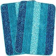 Saral Home Stripe Anti-Skid Bath Mat (Turquoise, Microfiber, 50X70 CM), Set of 2